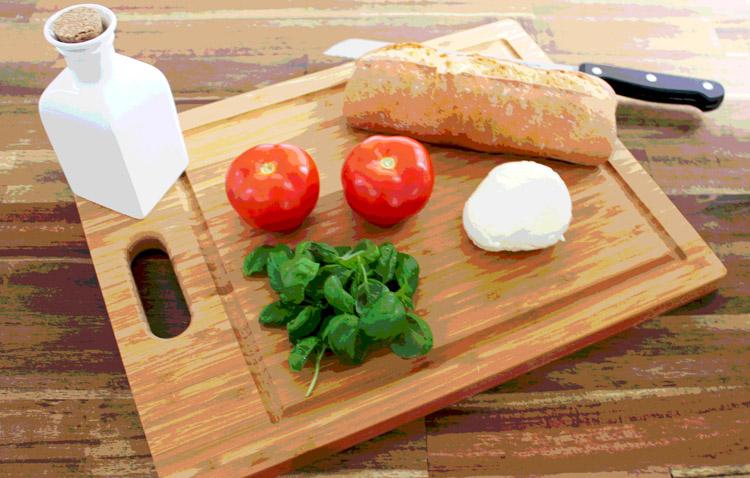 Vorbereitung für Caprese Vorspeise von Socialgastro Restaurant Marketing als Produktfoto.