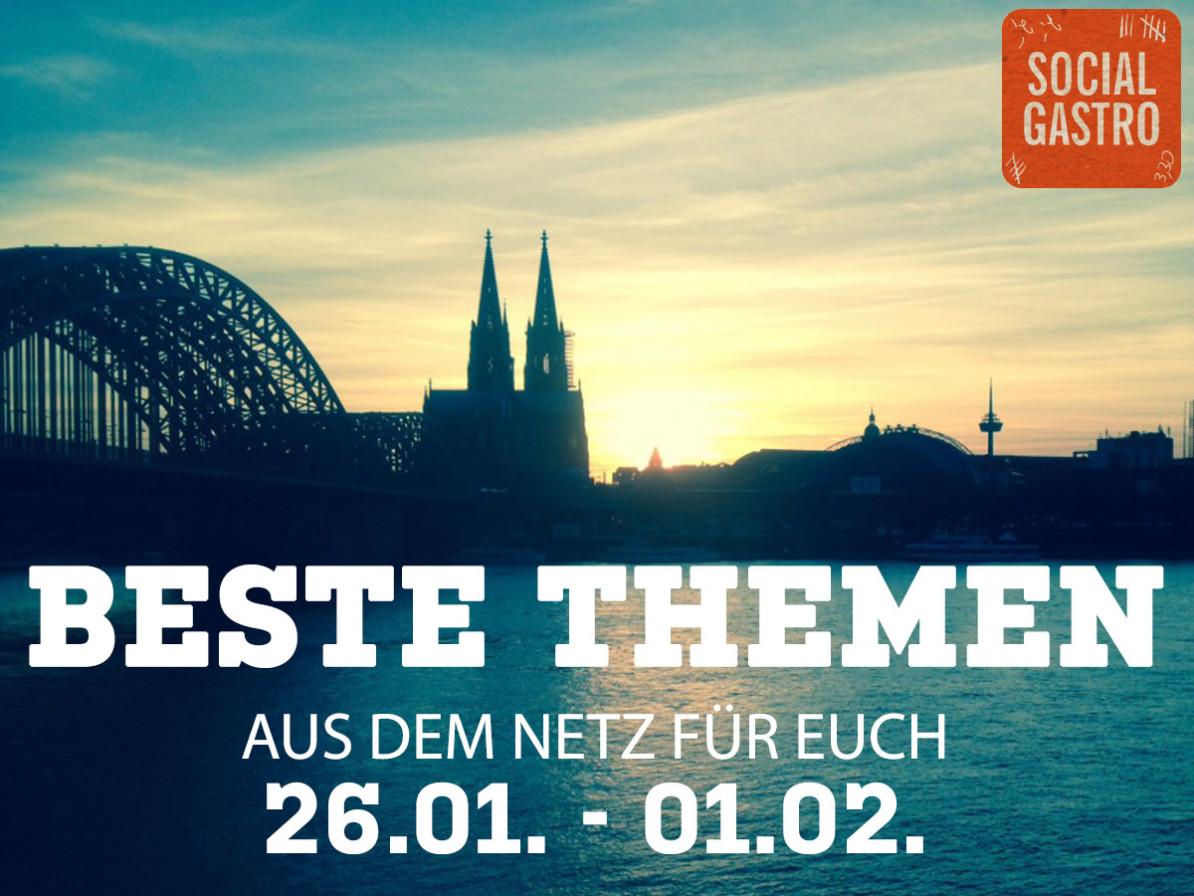 Beste Themen vom 26.01. bis zum 01.02. vorgesttelt von Socialgastro. Dabei werden wichtige Artikel zum Thema Marketing vorgestellt.